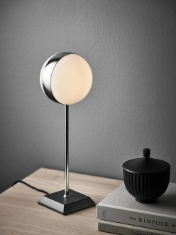 Circle bordlampa krom/vit