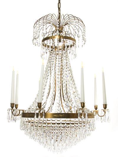 Nobel kristallkrona 8 ljus (Antikmässing)