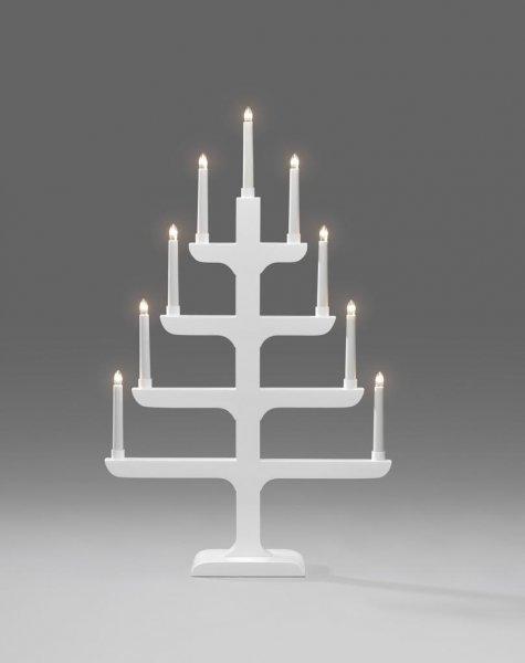 Elljusstake 9 ljus trä vit (Vit)
