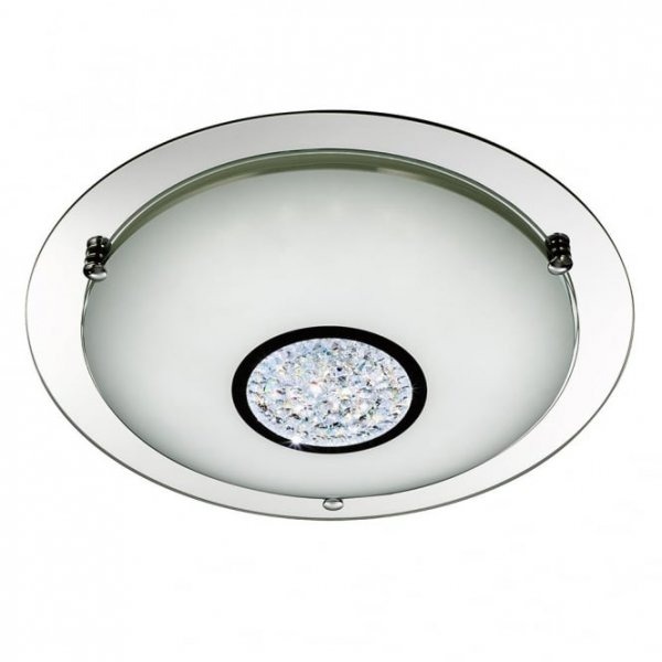 Chrome LED flush 31cm