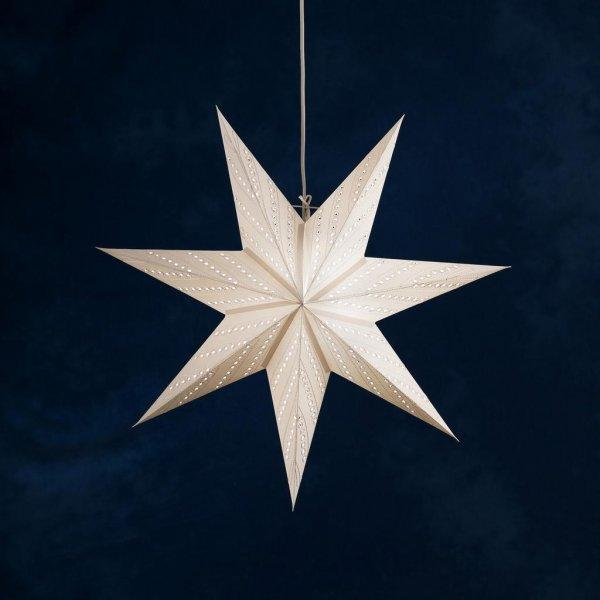 Pappersstjärna vit brodyr 60cm (Vit)