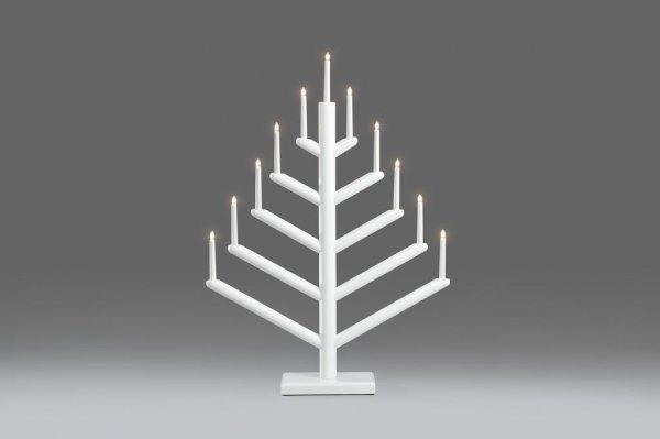 Elljusstake 11 lj trä blankvit (Vit)