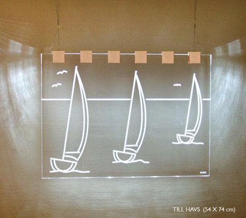 Till Havs (Vit träkloss, Klar/transparent)