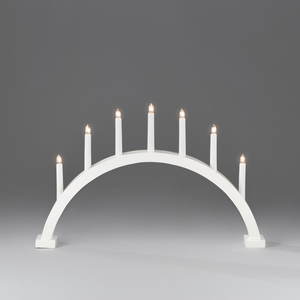 konstsmide ljusstake Elljusstake båge 7 lj trä vit   Adventsljusstakar | Lampgallerian.se konstsmide ljusstake