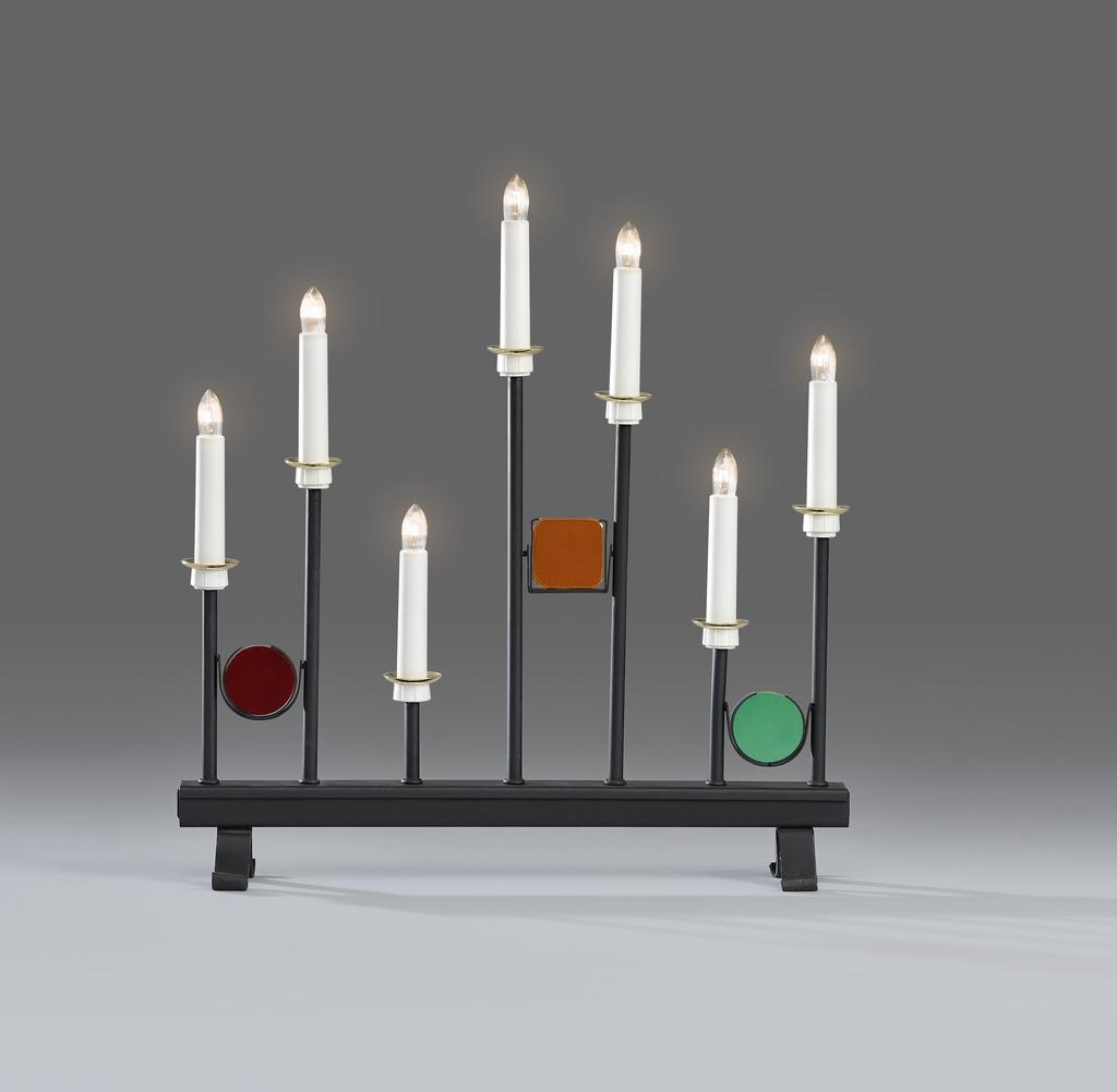 konstsmide ljusstake Elljusstake 7 lj svart metall / färgad   Julbelysning  konstsmide ljusstake